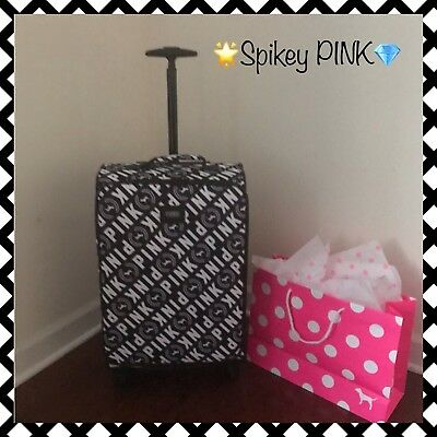 NWT Victoria's Secret PINK 💕Wheelie Suitcase Carry-on/Luggage Gray🌟FREE GIFT💎