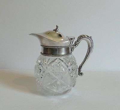 Cut Glass Syrup Pitcher, Silver Plate Beaded Top, c. 1900 (#7)