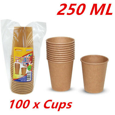 100Pk Paper Brown Retro Craft Cup Party Cups 250Ml Wedding Birthday Kraft Fd