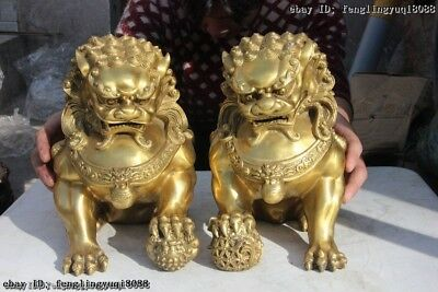Chinese Folk Brass Copper Fengshui Lucky Fu Foo Dog Lion Guardion Statue A Pair