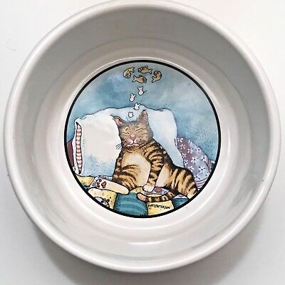 GARY PATTERSON Clay Designs Fat Cat Ceramic Bowl, Dish, Tabby Cat, Tiger Cat
