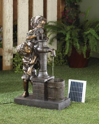 Teamwork Water Pump Solar Outdoor Water Fountain, Solar Garden Decor