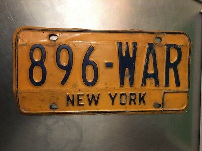 NEW YORK STATE NY VTG Classic License Plate 896 WAR AUGUST 1996 Birthday Soldier