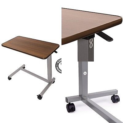 Overbed Table Adjustable Height Medical Hospital Bedside Rolling Wood Stand