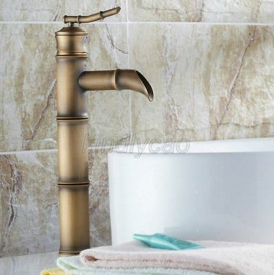 Antique Brass Bathroom Faucet Basin Sink Faucet Single Handle Water Tap Knf107