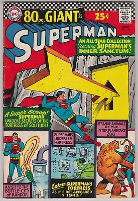 Superman #187 VG+ 4.5 Fortress Of Solitude Kandor 80 Page Giant 1966!