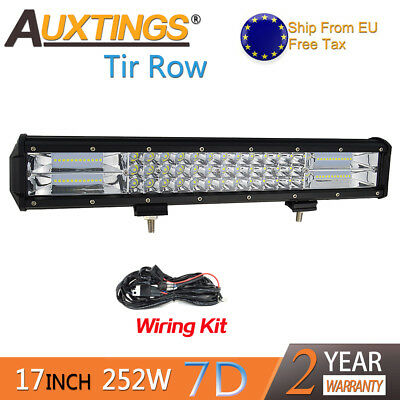 7D Tri-Row 17'' 252W Combo LED Work Light Bar for Jeep Truck Boat SUV+Wiring EU
