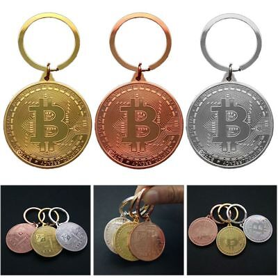 Keychain BTC Golden Plated Bitcoin Round Commemorative Coin Pendant Keyrings
