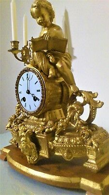 Antique French Gilt Figural Mantel Clock.