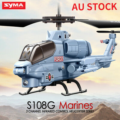 Mini Syma S109 3CH Apache Remote Control LED Light RC Helicopter Drone With Gyro