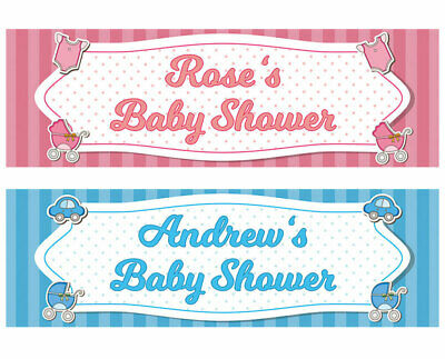 2 Personalised Baby Shower Banner 1st Baby Girl Boy Birthday Party Poster deco
