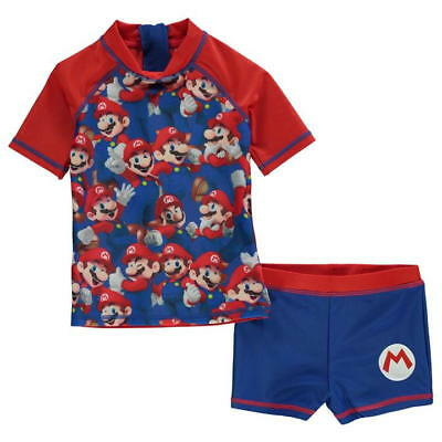 Boys Super Mario Swimming Top and Trunks Set Ages 3 through to 12 New With Tag