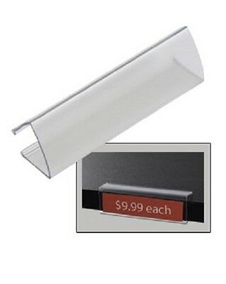 """Clear Wood Shelf  Tags 100 Acrylic Label Holder Holds 7/8"""" x 3 1/8"""" Tag Ticket"""