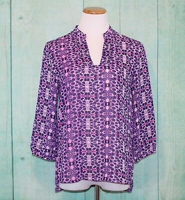 Coldwater Creek Printed Top Blouse Size XS 4-6 Purple Multi-Color 3/4 Sleeve
