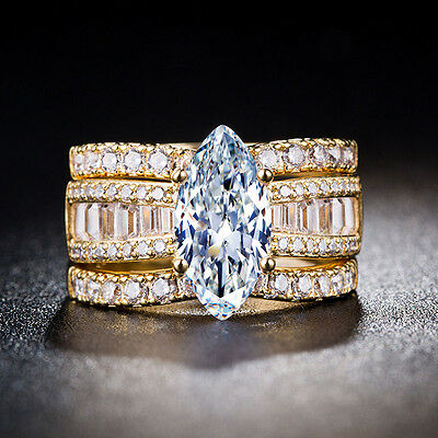 Luxury 18k Yellow Gold Plated Marquise Cut White Sapphire New Ring Size 6-10