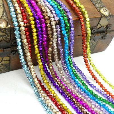 Wholesale 200pcs Crystal Glass Faceted Rondelle Loose Spacer Beads3x2mm