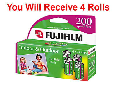 (4 Rolls) Fuji 200 35mm Film 4pk CA 135-24 Exp Fuji Camera Wholesale 04/2019