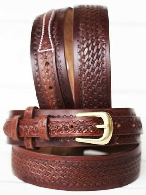 39-40 PRORIDER Men's Western RANGER BELT Tooled Leather Basket Weave 26Ranger03