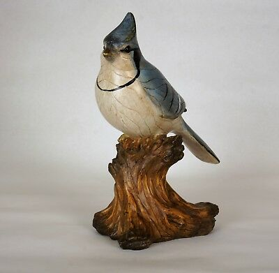 Blue Jay Resin Figurine Looks like Wood Decoration Bird