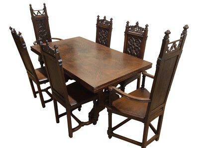 Antique French Gothic Dining Set, Includes Table & Chairs, 19th Century