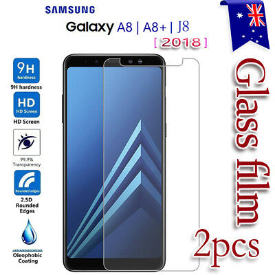 2x Samsung Galaxy A8 J8 J2 Pro 2018 Tempered Glass Screen Protector Film Guard