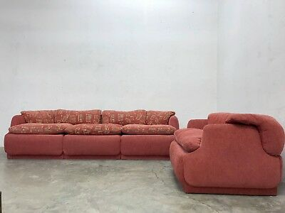 1970s ITALIAN 3-SEATER SOFA AND ARMCHAIR 'CONFIDENTIAL' ALBERTO ROSELLI SAPORITI