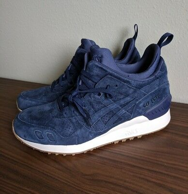ASICS GEL LYTE III MT Mid Shoes Peacoat Navy Blue Suede Cream HL7Y1 5858 Sz 8