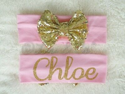 Personalized Newborn Infant Toddler Baby Girl Bow Headband Hair band - US Seller