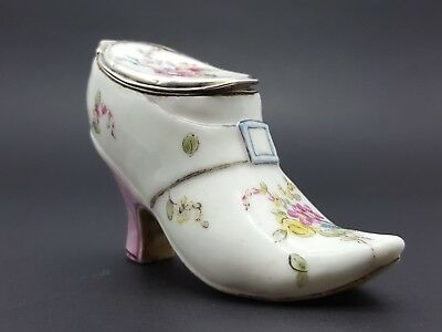 18th Century French Mennecy Porcelain Shoe Or Slipper Form Snuff Box  1750- 56