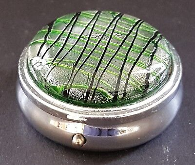 Silver plate & green enamel vintage Art Deco antique pill box