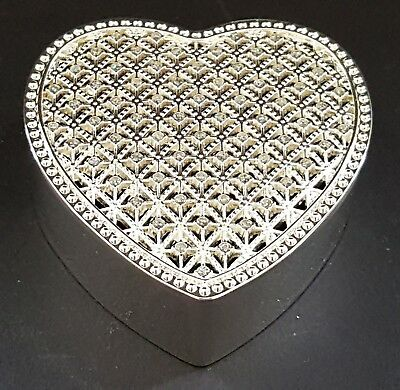 Silver plate & sparkly stone vintage Art Deco antique heart shape trinket box