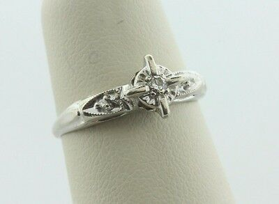 Antique Estate Art Deco 14K Yellow Gold 0.06ct Diamond Engagement Ring- Size 5.5
