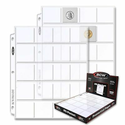 Lot of 5 BCW 20-Pocket Album Pages for 2x2 Coin Flips binder sheets