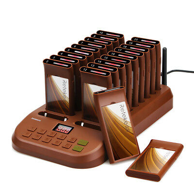 Restaurant Guest Call Wireless Paging Queuing Calling System+20X Coaster Pagers