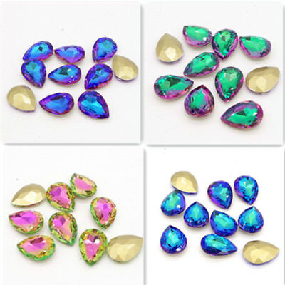 Hot  Color Crystal Glass rhinestones teardrop Faceted beads Jewelry 14mm~30mm