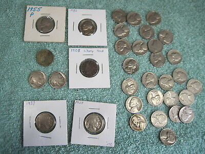 Lot Of 34 Old Nickels - Liberty V, Buffalo/indian Head, Jefferson Nickel Us Coin