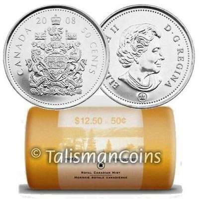 Canada 2008 Half Dollar 25 x Coat of Arms 50 Cents BU Special Mint Wrap Roll