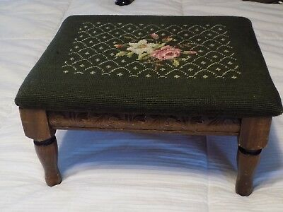 Vintage Carved Wood Footstool w Green Needlepoint Cover Millersburg PA