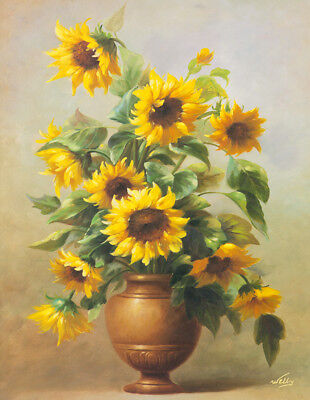 Modern Classical Sunflower Floral oil painting Print Canvas Wall Art Deco Gift 1