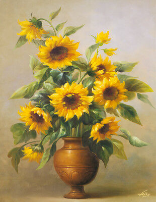 Modern Classical Sunflower Floral oil painting Print Canvas Wall Art Deco Gift 2
