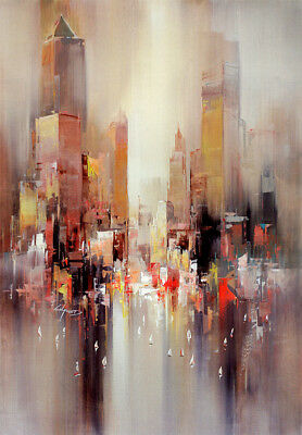 Modern Abstract Color Cityscape boat oil painting Print on Canvas Wall Art Decor
