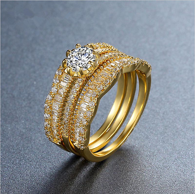 RG067  WOMENS SOLITAIRE SIMULATED DIAMOND RING 18K gold plated ELEGANT PRETTY