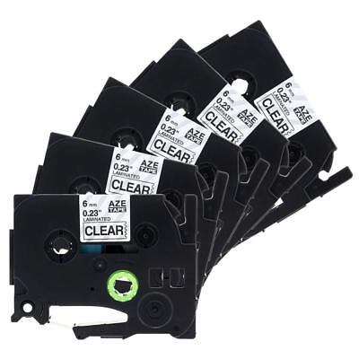 P-Touch Label Tape TZ111 TZe111 Compatible for Brother Black on Clear 6mm 8m 5pk