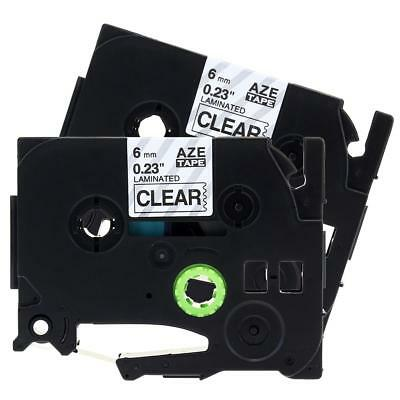 P-Touch Label Tape TZ111 TZe111 Compatible for Brother Black on Clear 6mm 8m 2pk