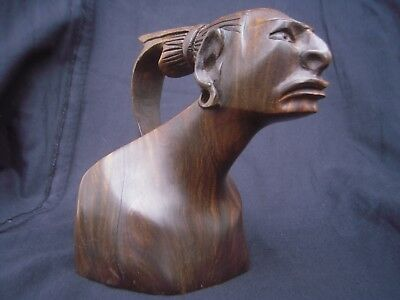 Carved Hardwood Native American Indians Head Caricature