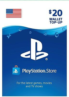 US PSN Network Card 20$ USD - 20 Dollar Playstation Prepaid Key Sony PS3 PS4 PSP