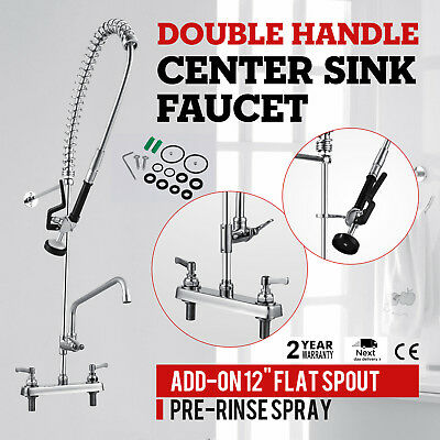 """8""""Center Commercial Kitchen w/12""""Add-On Faucet Wall Mounted Pre-Rinse Faucet"""