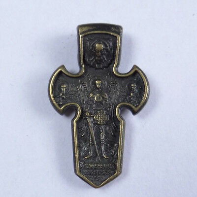 Medieval Orthodox Bronze Double Cross Ancient Artifact  With Archangel Michael