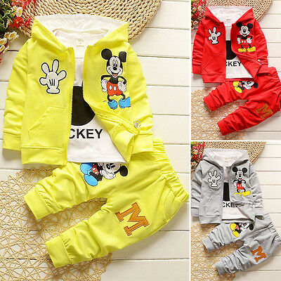 Kids Baby Boys Girls Mickey Mouse Hooded Coat T-shirt Pants 3pcs Tracksuit Set