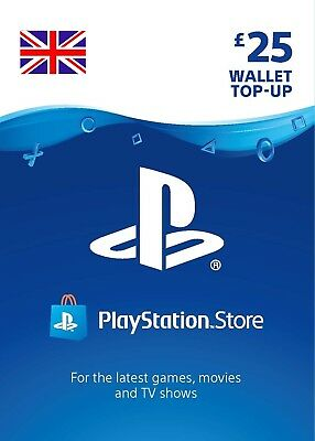 UK PSN Network Card 25£ GBP - 25 Pounds Playstation Prepaid Key PS3 PS4 PSP Vita